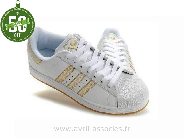 Et Femme Blanc Or Adidas Superstar TKl15c3uFJ